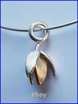 Ola Gorie Silver & 9ct Gold Clova Flower Pendant 16 Wire Scottish Box