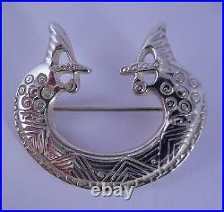 Ola Gorie Silver Brooch St Ninian Viking Seahorse Shetland 1975 Scottish