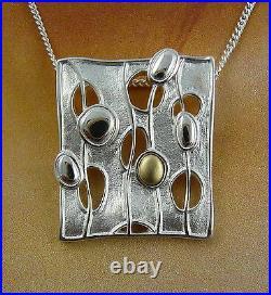 Ola Gorie Silver Pendant 18 Chain Mixed Metal Flow Scottish