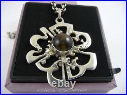 Ola Gorie Silver Pendant 20 Chain Tigers Eye 1973 Scottish