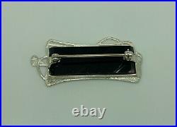 Pat Cheney Scottish Sterling Silver Ditchfield Glass Art Nouveau Style Brooch