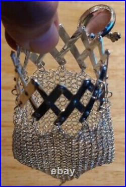 Portugal 835 Sterling Silver Scottish Terrier (Scottie) Hinged Mesh Purse Chain