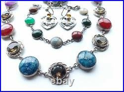Rare Antique Late Georgian, Early Victorian Scottish St. Silver Necklace Set 97g