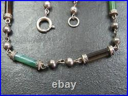 Rare Antique Scottish Sterling Silver & Agate Necklace C. 1840
