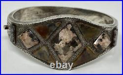 Rare Antique Victorian Sterling Silver Scottish Agate Hinged Bangle Bracelet