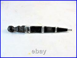 Rare Childs Faux Scottish Dirk, Wooden With Sterling Silver Mountings, C 1870's