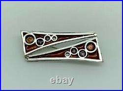 Rare Norman Grant 1970s Scottish Sterling Silver Enamel Abstract Bubbles Brooch