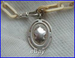 Rare Victorian Scottish Antler Albert Watch Chain with 1860 Sterling Silver Fob