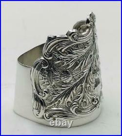 SOLID SILVER NAPKIN RING 50mm Scottish Thistle Design / Scroll Napkin Ring