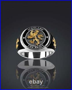 Scotland Ring The Brave, Scottish Lion, Silver 925 with 24K-Gold-plated Parts