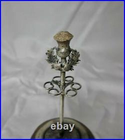Scottish Agate Thistle Hatpin Stand Holder Sterling Silver 1907 Adie & Lovekin