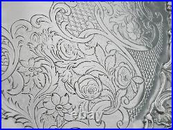 Scottish Antique Sterling Silver Salver Pierced Border, Marshall & Sons 1843