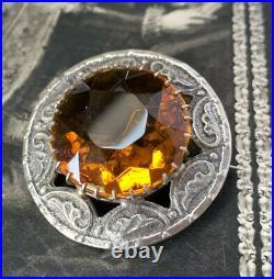 Scottish Brooch Sterling Silver Cloak Pin by Robert Allison, dates 1954
