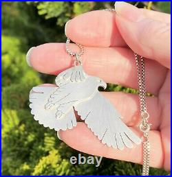 Scottish Eagle STERLING SILVER Necklace 18 Handmade LARGE Unusual GQTY 1992 18g