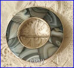 Scottish Lace Agate Sterling Silver Brooch Blue Gray Vtg Antique