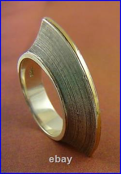 Scottish Ola Gorie Club Ring Mixed Metal 925 Sterling Silver 18ct Gold Mix Box