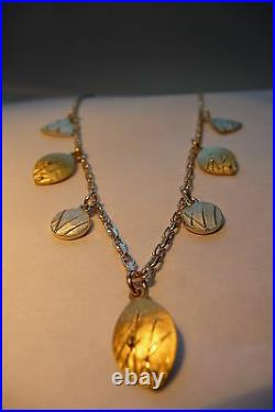 Scottish Ola Gorie Mixed Silver 9ct Yellow Gold Mistral Pendant Chain