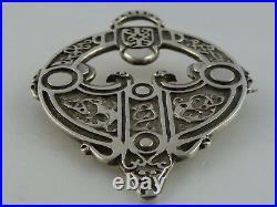 Scottish Ola Gorie Pictish Crescent & V Rod Silver Brooch Pin 1969
