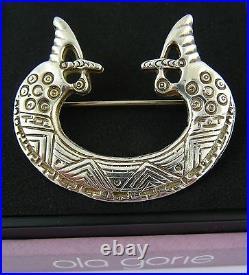 Scottish Ola Gorie Silver Viking Seahorse Brooch St Ninian Shetland 1979