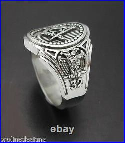 Scottish Rite 32nd Degree Double Eagle Masonic Sterling Silver Ring #025O