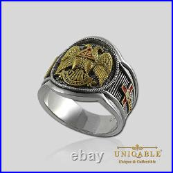 Scottish Rite Masonic Freemason Ring. 925 Silver Gold 18K Plated by UNIQABLE