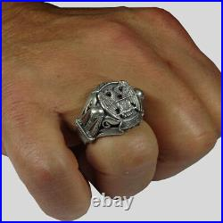 Scottish Rite Masonic Ring Sterling Silver 925 Ruby Knights Templar by UNIQABLE