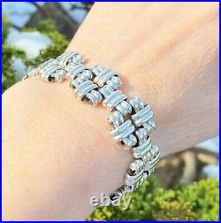 Scottish STERLING SILVER Bracelet Unusual Links 7.5 HMK HEAVY 63.6g PRO REFURB