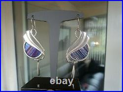 Scottish Silver Art Nouveau Earrings Pat Cheney / John Ditchfield Glass 1980s