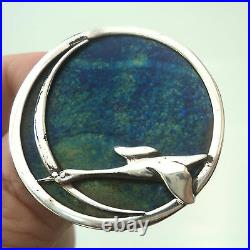 Scottish Silver Brooch Pat Cheney / John Ditchfield Glass Flying Geese 1980s