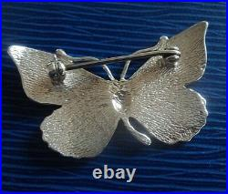 Scottish Silver & Enamel Butterfly Brooch h/m 1990 Norman Grant / Dust Jewellery