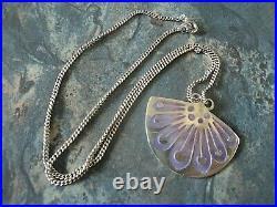 Scottish Silver & Enamel Floral / Flower Pendant Norman Grant h/m 1970s