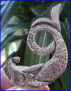 Scottish Silver Iona Sea Serpant VERY LARGE Brooch Celtic Art Industies 1960s