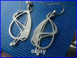 Scottish Sterling Silver & Enamel Art Nouveau Earrings PPC Pat Cheney c. 1980s