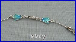 Scottish Sterling Silver & Enamel Bluebell Necklace Norman Grant Dust Jewellery