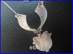 Scottish Sterling Silver & Enamel Floral Pendant / Necklace Pat Cheney c. 1980s