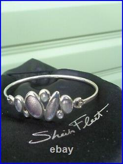 Scottish Sterling Silver & Enamel SHORELINE PEBBLE Bracelet Bangle Sheila Fleet