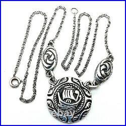 Scottish Sterling Silver Viking Ship Necklace Hallmarked Cook Holland 1959