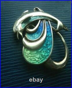Scottish Stg. Silver Enamel Dolphin Brooch 1980s Norman Grant / Dust Jewellery