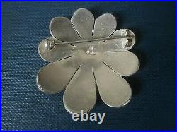 Scottish Stg. Silver & Enamel Flower / Floral Brooch Norman Grant 1973 Edinburgh