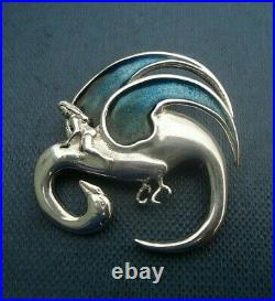 Scottish Stg. Silver & Enamel Leda & The Swan Brooch Ortak / Dust Jewellery