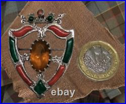 Scottish Traditional Sterling Silver Citrine & Agates Luckenbooth Brooch