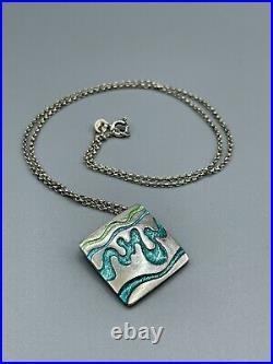 Shetland Jewellery Company Vintage Scottish Sterling Silver & Enamel Pendant