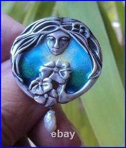 Silver & Enamel Scottish Art Nouveau Style Brooch + Blister Pearl Pat Cheney