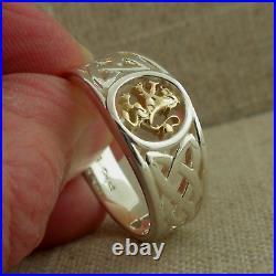 Sterling Silver & 10K Scottish Rampant & Celtic Knot Ring Keith Jack size 7.5
