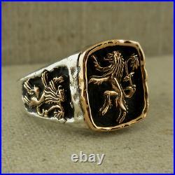 Sterling Silver & Bronze Scottish Rampant Lion Signet Ring Keith Jack Size 10.5