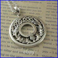 Sterling Silver Celtic Knot Scottish Thistle Pendant Keith Jack 18 Chain Boxed