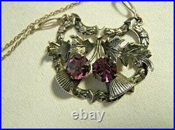 Sterling Silver Pendant Scottish With Amethyst Signed With Thistle Vintage