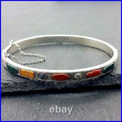 Sterling Silver & Scottish Agate Sample Bracelet Hinged Bangle Hallmark 1912
