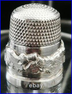 Sterling Silver Thimble with Scottish Thistles (cased), James Swann 1981