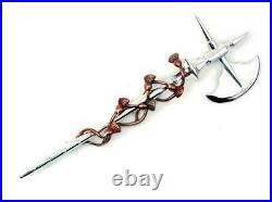 Sterling Silver and Bronze Bruce's Axe and Entwined Thistles Scottish Kilt Pin